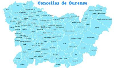 Mapa de los ayuntamientos de Ourense