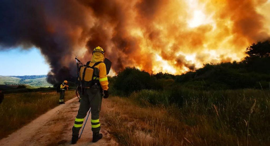 Incendio forestal en Cualedro