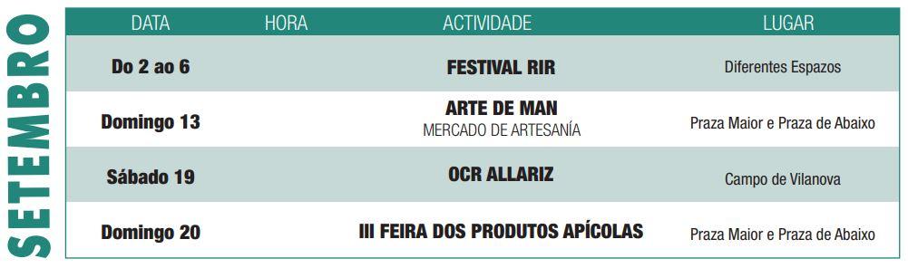 Programación cultural de Septiembre del concello de Allariz