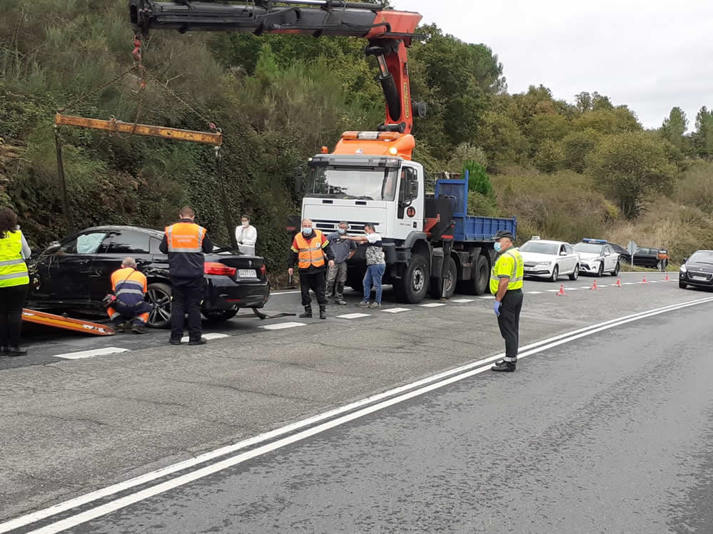 Accidente con vuelco en Barbadás