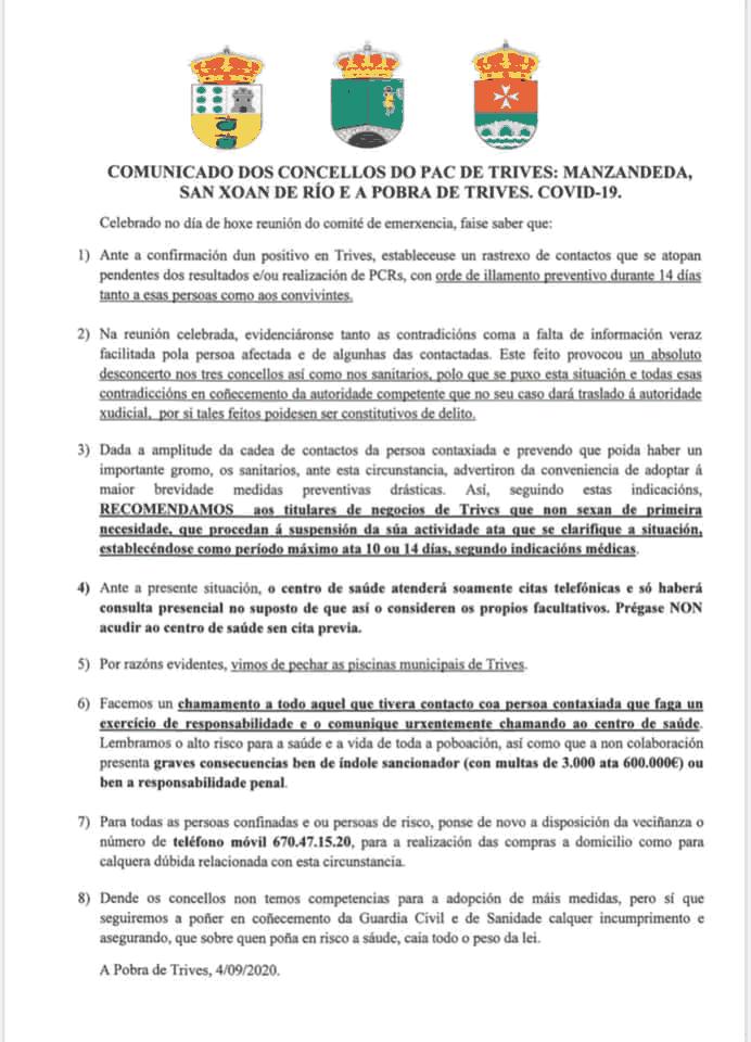 Comunicado concello de Trives por covid