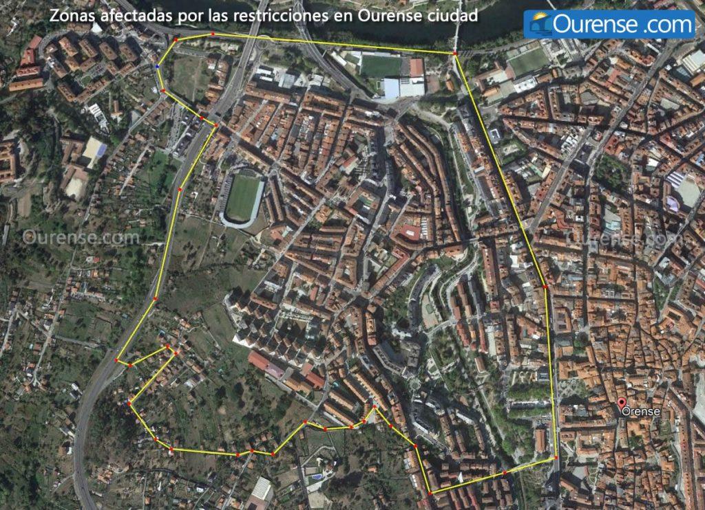 Mapa restricciones de Ourense