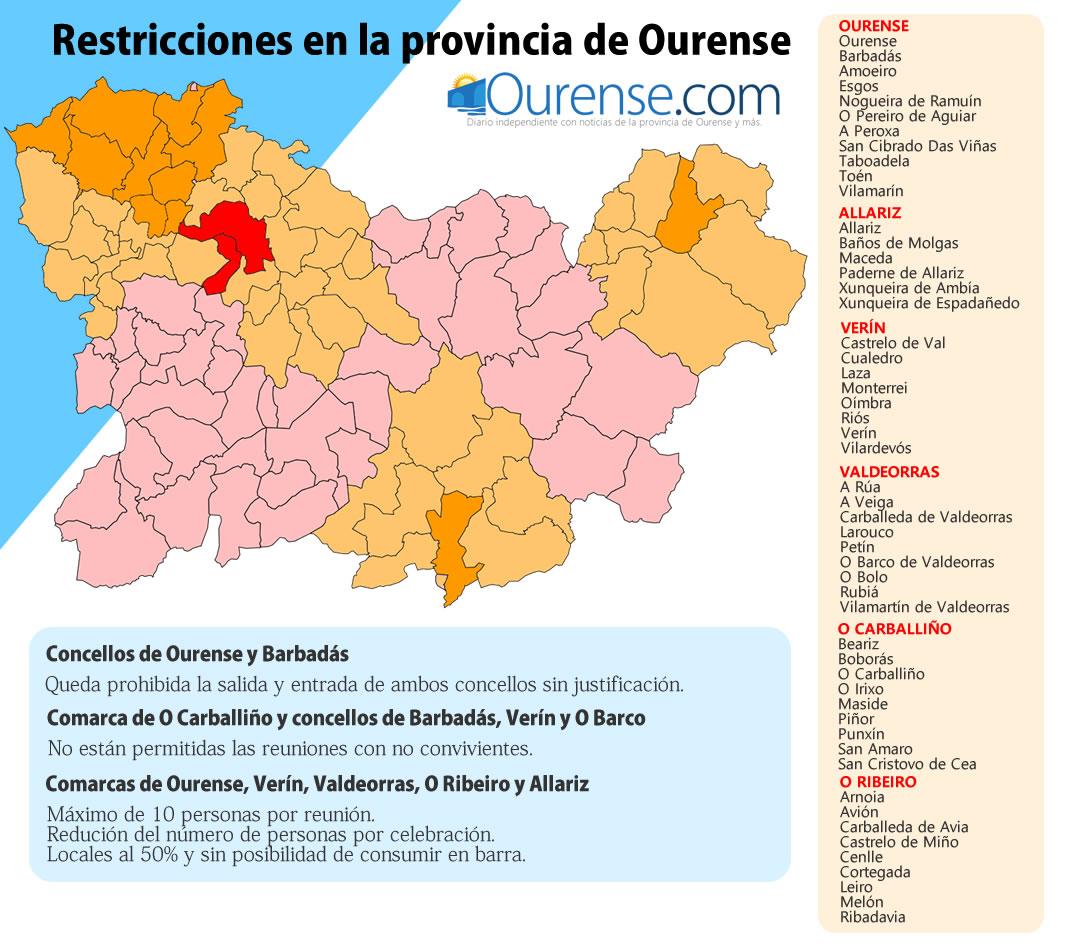 Restricciones en la provincia de Ourense por concellos