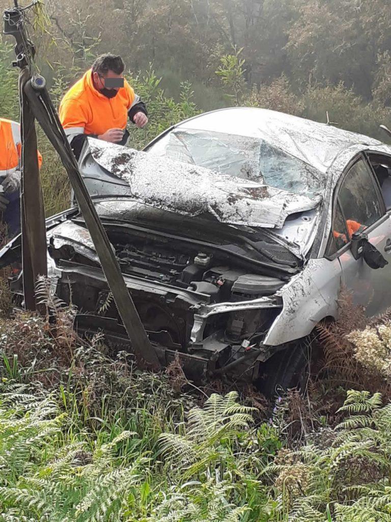 Delantera del coche accidentado