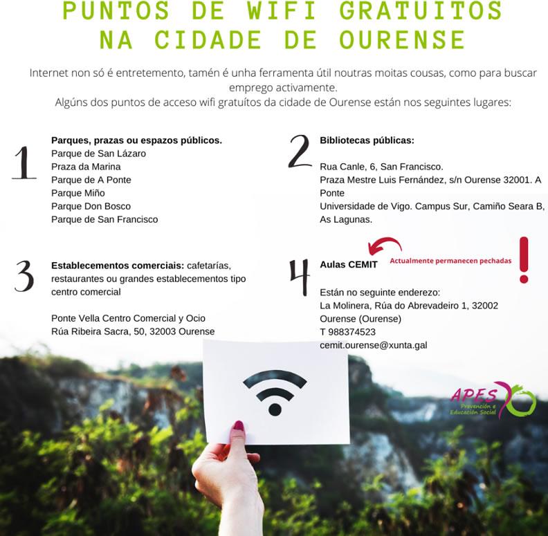 Puntos Wifi gratuitos de Ourense