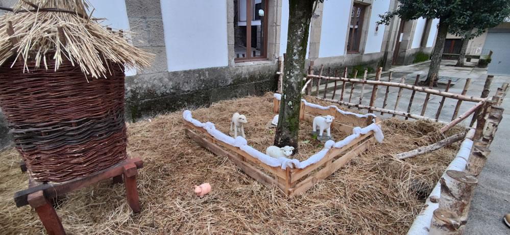 Corderos en una escena navideña en Allariz