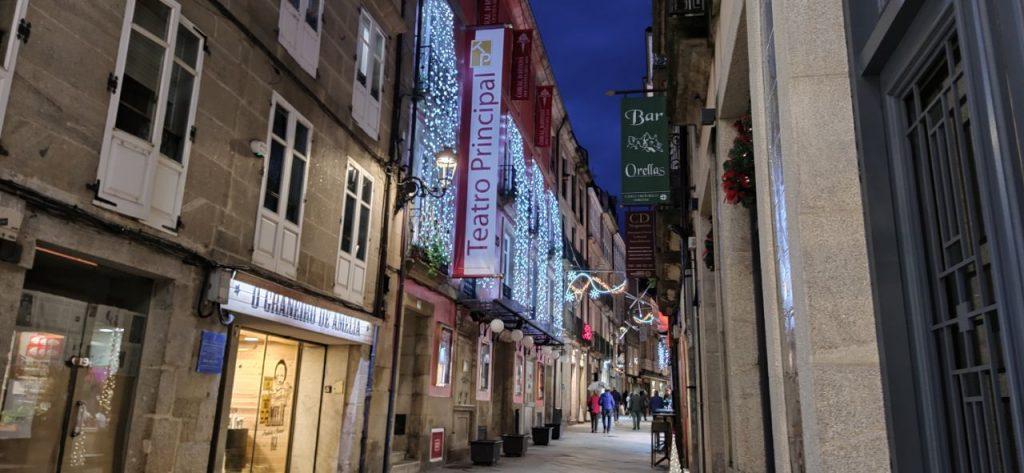 Rúa da Paz y sus luces de Navidad