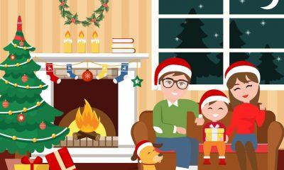Escena familiar en Navidad