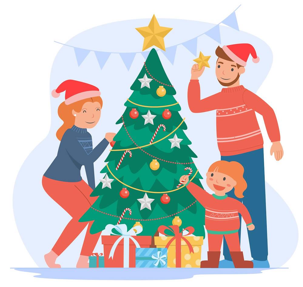 Familia con árbol de Navidad
