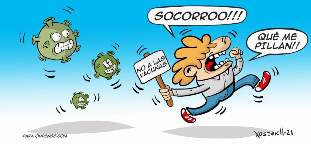Negacionistas infectados y No a las vacunas xosevich 2021 humor chistes actualidad