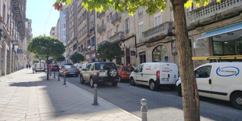 Atasco en Rúa Concordia de Ourense
