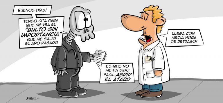 Seguridad Social doctor médico pacientes citas presenciales chistes memes Humor Xosevich 21