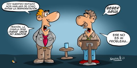 Conferencia para prevenir la deshidratación beber agua Chistes humor memes Xosevich 21