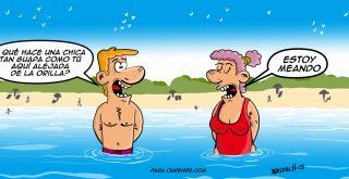 chiste de chica alejada de la orilla de la playa meando xosevich 21 humor
